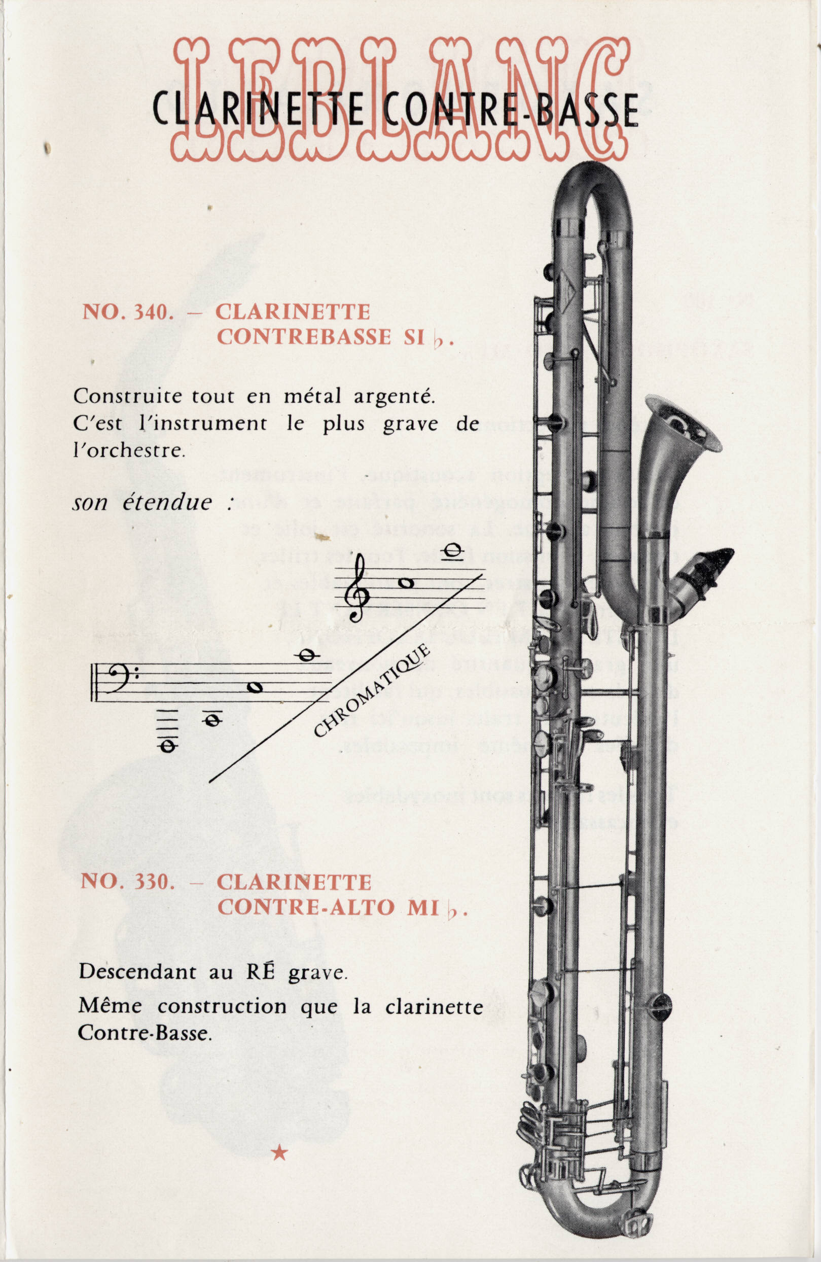 catalog: contrebass paperclip Leblanc clarinet register