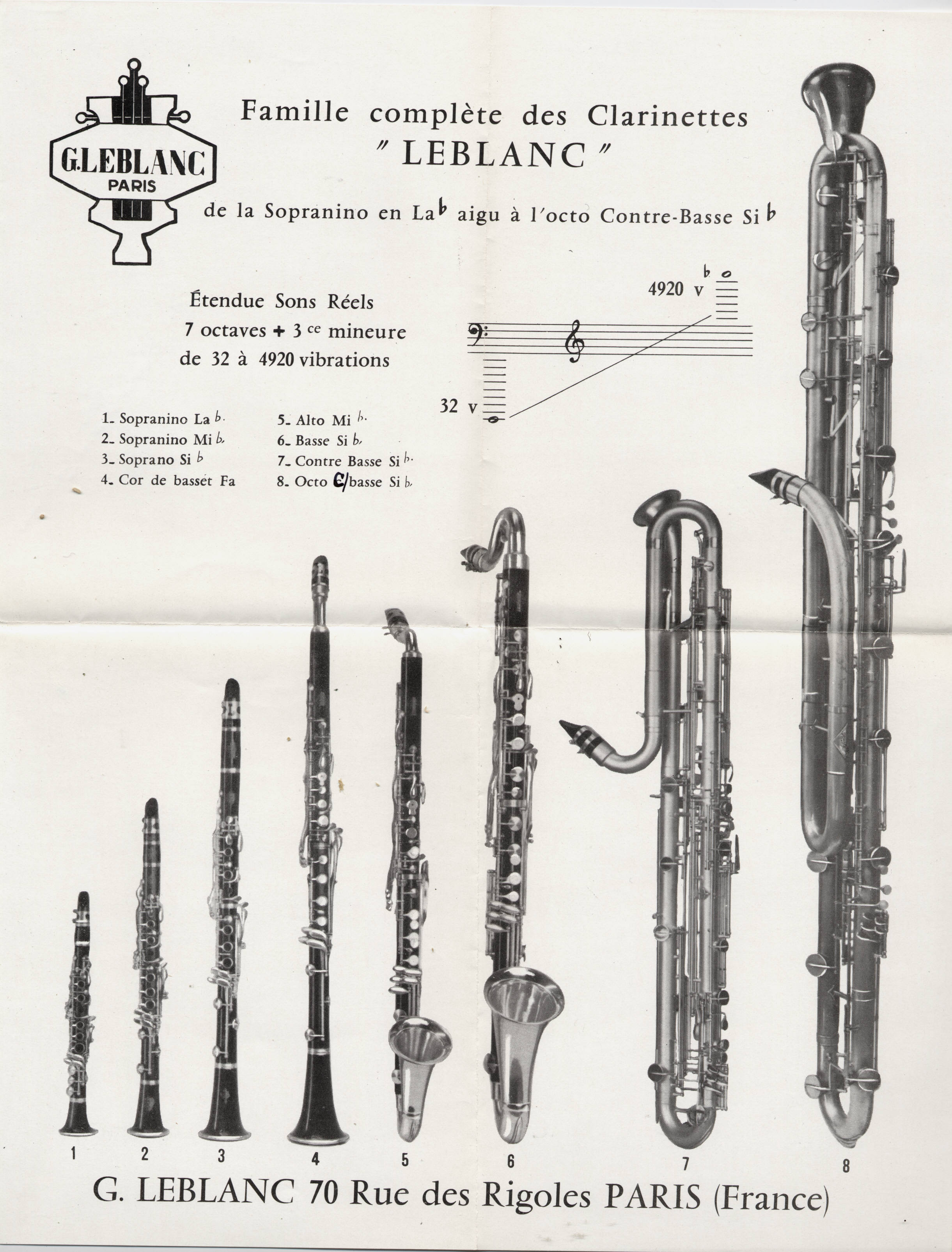 Leblanc clarinet family:  sopranino to the octocontrabass