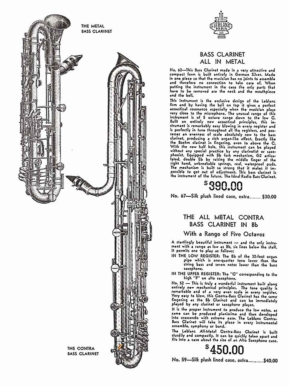 Valentin cases : A 1955 advertising with a bass paperclip clarinet at 390$ and a contrebass at 450$