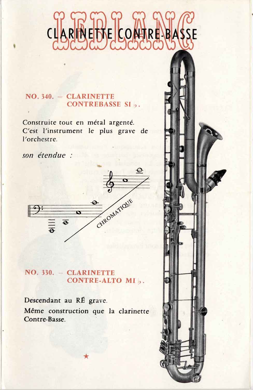 Valentin cases : Leblanc poster showing the contrabass clarinet.